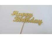 Topo de Cartão Happy Birthday Dourado