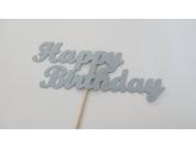 Topo de Cartão Happy Birthday Prateado