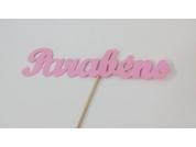 Topo de Cartão Parabéns Rosa